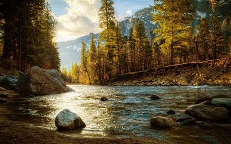 landscape nature river forest fall mountain snow