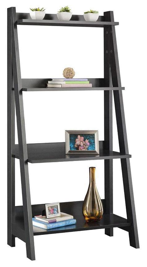 Essential Home Black Ladder 4 Shelf Bookcase