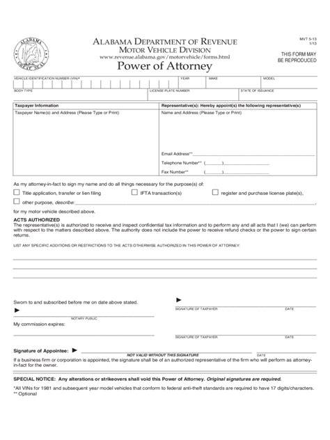 alabama power  attorney form  templates