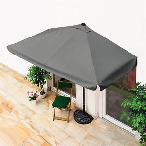 Balkon sonnenschirm rechteckig grau von gartner potschke for Französischer balkon mit sonnenschirm halb