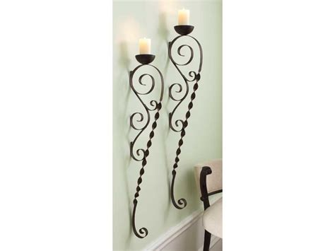 Candle Wall Sconce Black Wrought Iron Pillar Pair Long