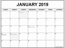 January Calendar 2019 Printable Design Template