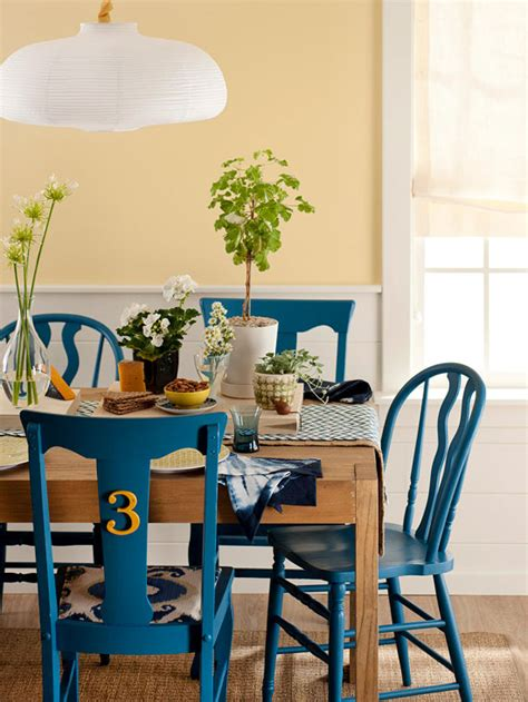 painting kitchen table and chairs different colors bhg style spotters