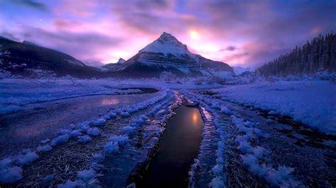 Winter Night Ice Cold Jasper National Park, Canada Desktop