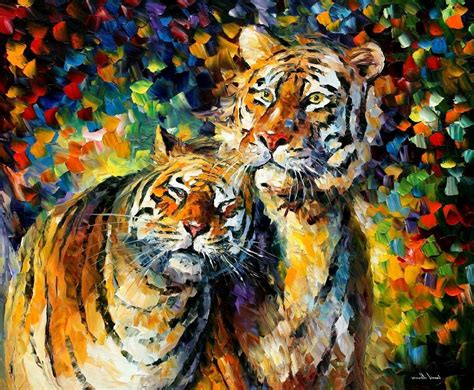 Colourful Animal Wallpaper - tiger painting leonid afremov animals colorful