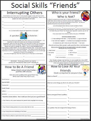 social skills worksheets friends repinned by