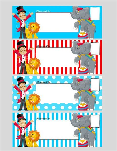 printable digital file circus ticket envelope template