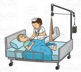 Sick Patient in Hospital Bed Cartoon