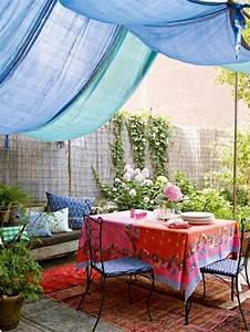 gartenterrasse bohemian style stoff dach sichtschutz With markise balkon mit tapete bohemian