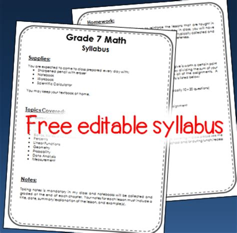 middle school syllabus template math in the middle ideas resources more for the 5th 8th grade math classroom