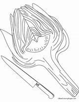 Coloring Artichoke Fork Spoon Knife Pages Getcolorings Printable Print sketch template