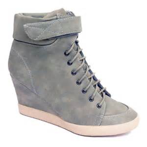 womens gray boots size 11 wedge trainer boots pebble gray lace up velcro ankle size 5 11 ebay