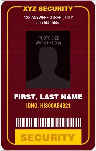 security guardofficer photo id badges  ms word word