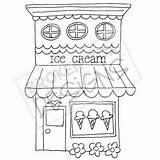 Ice Cream Drawn Clipart Boutique Buildings Dibujo Tiendas Zeichnen Drawing Basteln Drawings Shops Cafe Digi Patrones Dibujos Stickmuster Handstickerei Kreative sketch template
