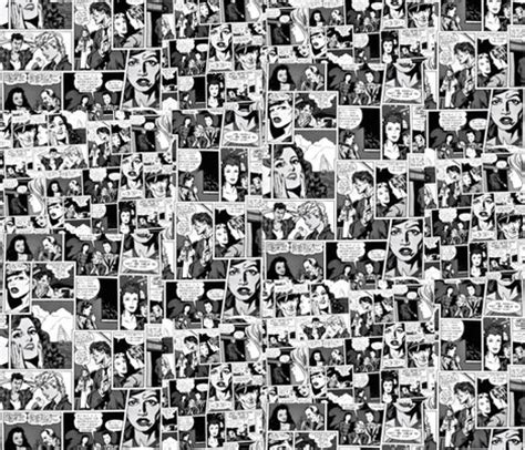 comic collage  black  white fabric whimzwhirled