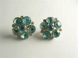 connecting earrings vintage blue rhinestone and silver coro earrings