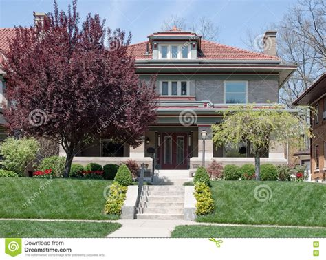 house on hill landscaping craftsman style home on hill with landscaping stock photo image 70736551