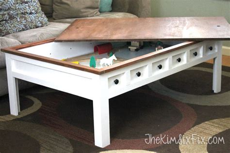 diy train table top apothecary style coffee table with hidden and train