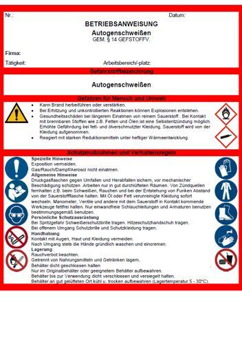 betriebsanweisung schadstoffe bei autogenschweissen