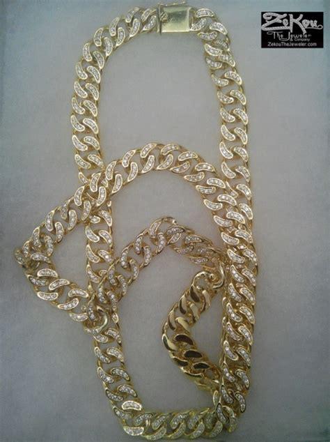 yellow gold overlay iced  simulated diamond miami