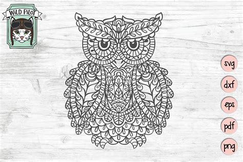Owl on the moon mandala svg. Owl SVG file, Owl Mandala SVG, Owl cut file, Owl vector