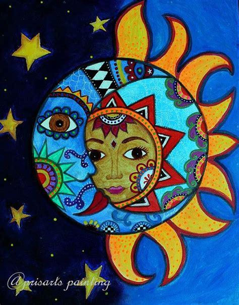 Folk Art Pristine Whimsical Sun and Moon Couple Prisarts ...