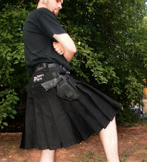 trinity tactical kilt shown  black tactical kilt