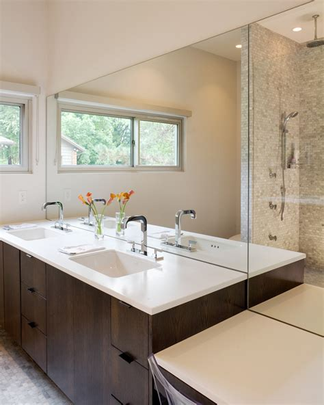 Modern Style Bathroom Mirrors by Mirror Backsplash Tiles Powder Room Contemporary With