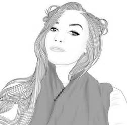 Black and White Tumblr Girl Drawing Outline