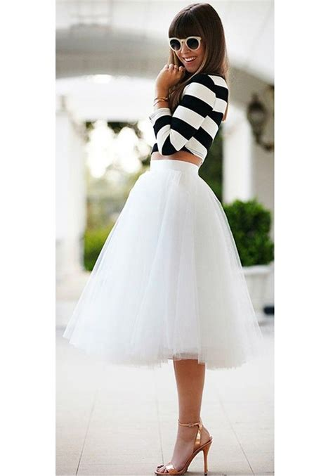 White Plain Draped Grenadine New Fashion Latest Women Puffy Tulle High Waisted Knee Length