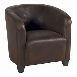 Fauteuil Club Tissu : fauteuil en tissu microfibre havane au design vintage ~ Teatrodelosmanantiales.com Idées de Décoration