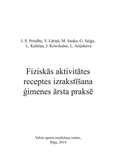 (PDF) Fiziskās aktivitātes izrakstīšana ģimenes ārsta praksē.