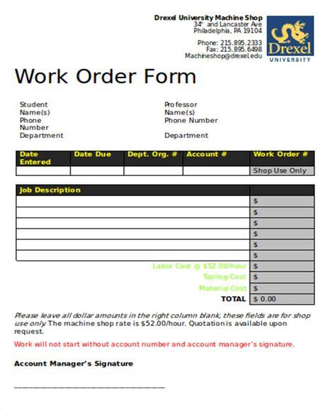 sample of work order form