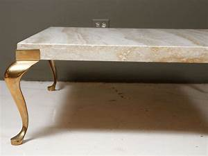 travertine coffee table with wonderful brass legs at 1stdibs With brass leg coffee table