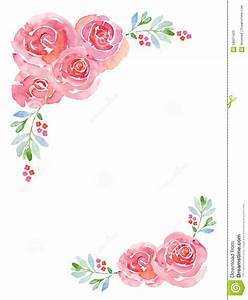 Pink Roses Watercolor Floral Background Stock Illustration