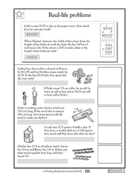 grade  grade math worksheets real life problems