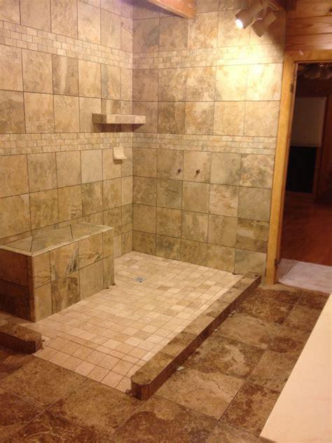 glass block shower   rustic log home collins georgia
