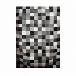 Tapis Cuir Patchwork : tapis patchwork en cuir peau de vache noir blanc et gris ~ Teatrodelosmanantiales.com Idées de Décoration