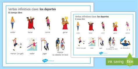 sports key verbs word mat spanish spanish vocabulary