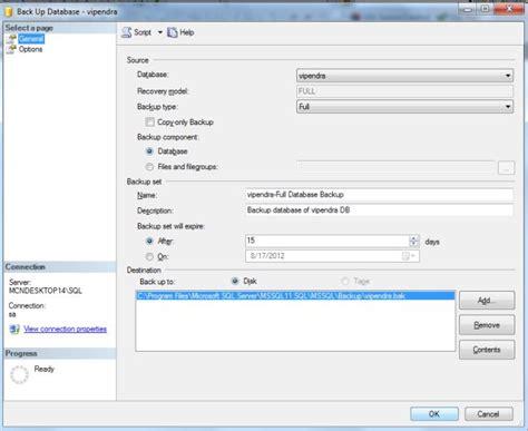 how to create database backup in sql server 2012