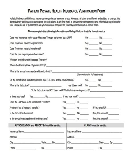 sample insurance verification forms   ms word