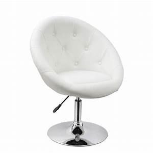 Fauteuil oeuf capitonne design cuir pu chaise bureau blanc for Fauteuil cuir blanc design