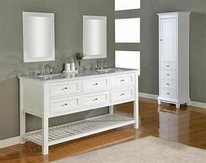 J j international 70quot pearl white mission double vanity for White vanity cabinets for bathrooms