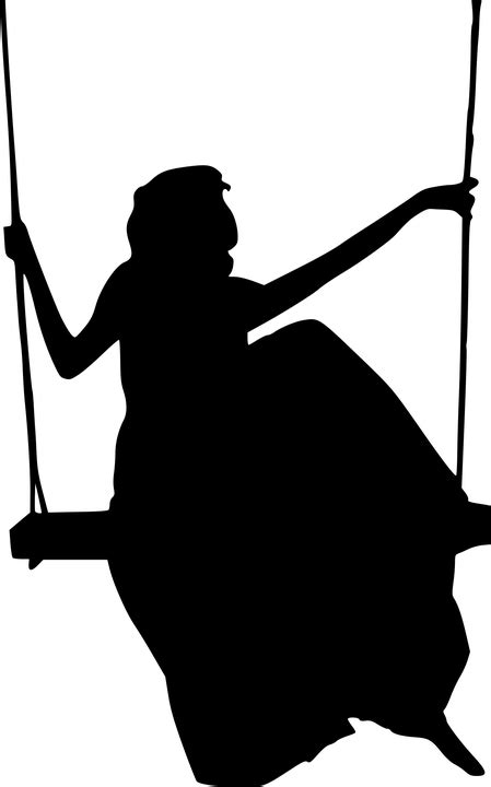 silhouette woman swing  vector graphic  pixabay