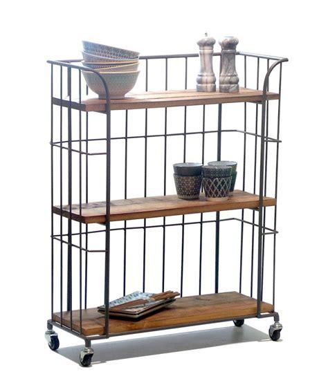 meuble rangement cuisine pas cher étagère de rangement sur roulettes en bois et métal gris