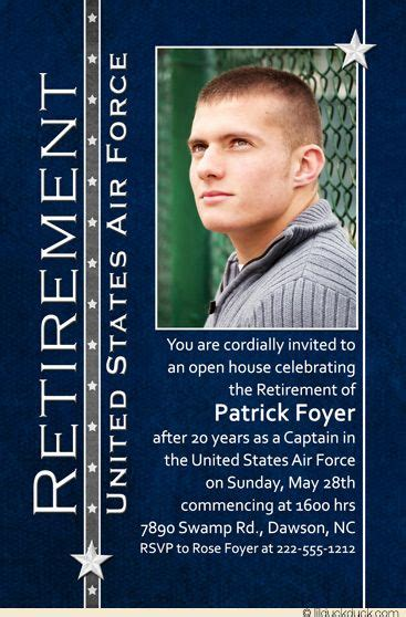 military retirement party photo invitation official