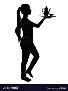 Silhouette of waitress Royalty Free Vector Image