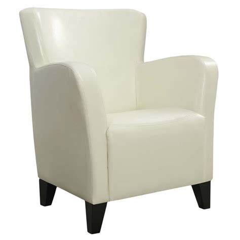 Faux Leather Accent Chair In Ivory  I 8069