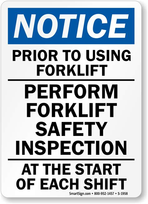 forklift inspection signs mysafetysigncom