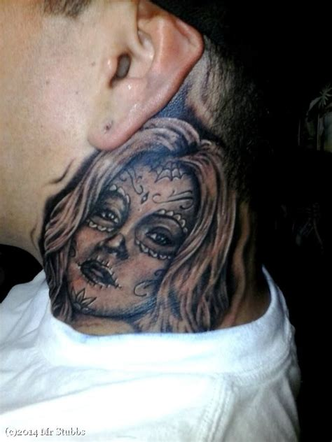 day   dead neck tattoo images  pinterest